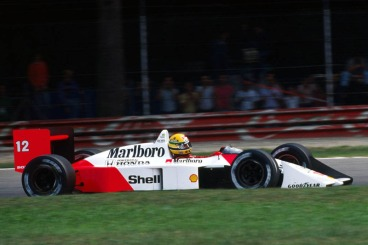 McLaren MP4/4 driving by Ayrton Senna.