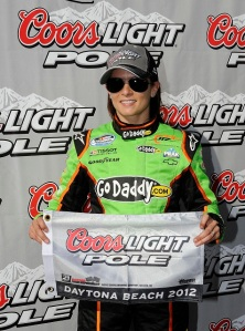 Danica Patrick after winning the Pole of the 2012 DRIVE4COPD 300 at Daytona-