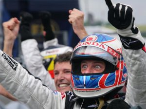 Jenson Button after winning the Hungarian GP, his first win in F1.