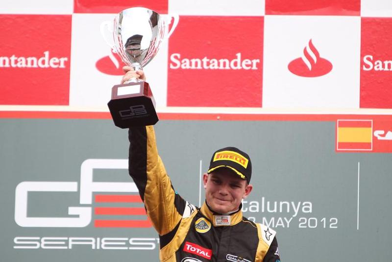 Conor Daly celebrating after winning GP3 race at Barcelona.