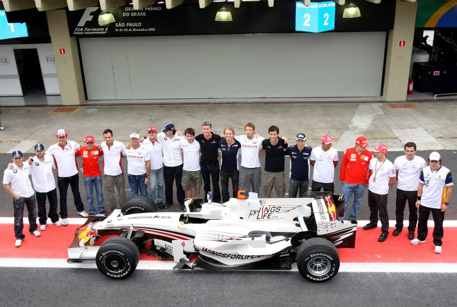 David Coulthard with his final ride along side other drivers of the 2008 F1 Season.