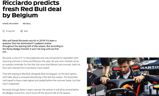 F1 dot com - Ricciardo